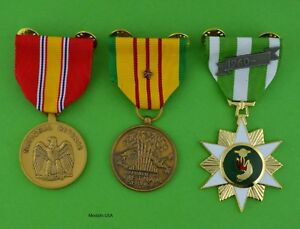 Vietnam Campaign, National Defense and Service Medals with 1 star - clutch back