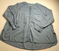 We The Free Women's Long Sleeve Tunic Blouse Large L Blue High Low Linen Blend