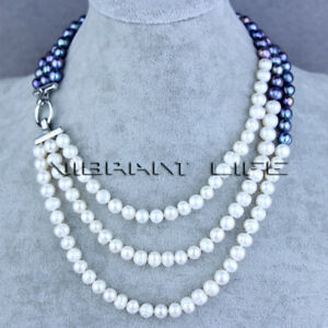 """17-20"""" 7-9mm White Peacock 3Row Freshwater Pearl Necklace UK"""