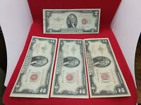 4 Note Matching AA Serial Letter Set 1953 A B C $2 United States Red Seal CIRC2