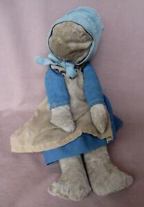 "Antique 15"" Cloth Faceless Amish Rag Doll Original Clothes"