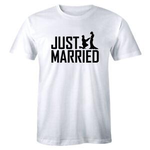 Just Married Mr Mrs Hubby Wifey King Queen Tshirt Wedding Gift Honeymoon Tee