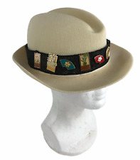 Vintage Kangol Made In England Men's Straw Fedora Sun Hat Orchid Club Pins
