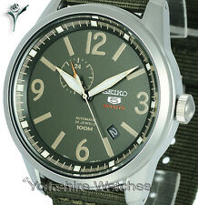 New SEIKO 5 SPORTS GREEN MILITARY FACE WITH KHAKI BUCKLE STRAP SSA299K1