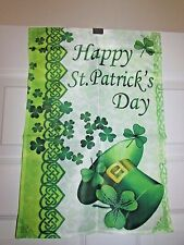Happy St.Patrick's Day Flag Small Garden Flag Scroll Design Shamrocks