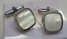 Vintage FOSSIL Perlmutt Silber Ton Manschettenknöpfe-USA Verkäufer