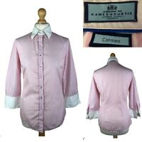 HAWES & CURTIS Carmen Women's Pink White Cotton Casual Shirt Size UK 10