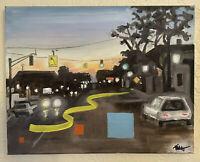 Street Scene Original Oil Painting Contmporary Art on Canvas sunset 11 x 14