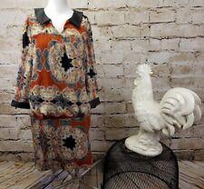 W118 Walter Baker Womens XS Blouson Dress Paisley Leather Collar & Sleeve Trim