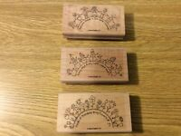 """Stampin' Up! Set of 3 Wooden Rubber Stamps """"The World Over"""" Holding Hands"""