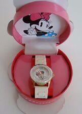 Disney®Minnie Mouse TwoTone Clear Crystal White Silicone Band Watch MINAQ352 NIB