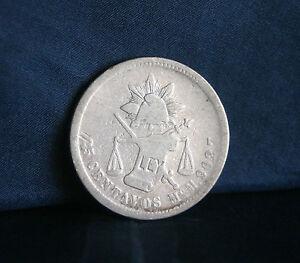 Mexico 1877 Mo M 25 Centavos Silver World Coin RARE Low Mintage 56,000 Eagle