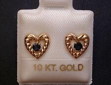 Herz Ohrstecker - mit Saphir - 2,5 mm - 10 Kt. Gold - 417 - Brillant Schliff