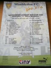 16/12/2000 Colour Teamsheet: Wimbledon v Bolton Wanderers (Folded, Score On Fron
