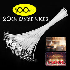 100Pcs 8 Inch 20cm Candle Wicks Cotton Core Candle Making Supplies !
