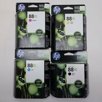 HP OfficeJet, 88XL Black, Cyan, Magenta, Yellow Ink Cartridges (Lot of 4)