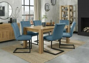 Blake Light Oak 6-8 Seater Dining Table & 6 Lewis Petrol Blue Cantilever Chairs