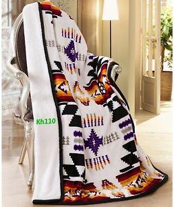 "Navajo Print Throw Blanket Sherpa Southwest Native American Indian 50""x60""White"