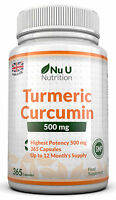 Turmeric Curcumin 365 Capsules High Strength 500mg Anti-inflammatory Pain Relief