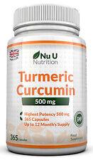 Turmeric 365 Capsules 500mg Curcumin Anti-inflammatory Antioxidant by Nu U