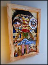 Original Outsider Painting Contemporary Folk Art Brut Framed CRISTABEL CHRISTO