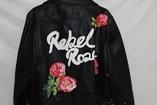 "Asos-Giacca in vera pelle con stampa BACK ""Rebel Rose"" Taglia 18"