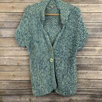 J. Jill Women Blue Green Button Cotton Knit Cardigan Open Sweater Sz M