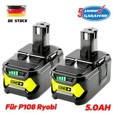 2X P108 Akku für Ryobi RB18L50 ONE+ Plus 18V 5Ah Lithium Ersatzakku RB18L40 P104