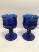 2 SMALL KINGS CROWN THUMBPRINT GOBLETS DARK COBALT BLUE  4 1/8''
