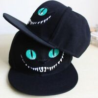 Men Women Black Cheshire Baseball Cat Print Caps Sports Snapback Peaked Flat Hat