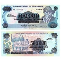 Nicaragua 500000 on 20 Cordobas 1985 (1990) P-163 Banknotes UNC