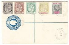 Mauritius REGISTERED POSTAL ENVELOPE-HG:C5-opened a bit rough-uprated SG#205