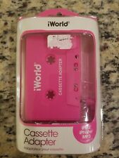 New iWorld Cassette Adapter ipod iphone Mp3 Compatible 2014 Plug And Play pink