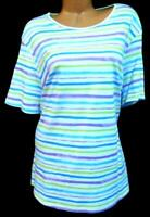 NWT Kim Rogers white multicolor striped scoop neck short sleeve stretch top 3X