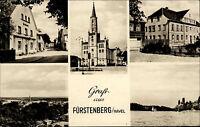 Fürstenberg Havel Brandenburg DDR s/w Mehrbild AK 1962 gelaufen Kirche Postamt