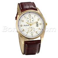 Men's Business Causal Charm Leather Strap Date Dress Quartz Analog Wrist Watch
