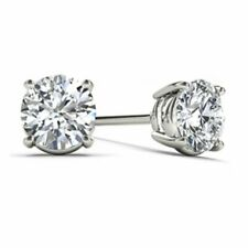 14Kt Oro Blanco 0.33 CT Diamante Natural Genuino Aretes redonda