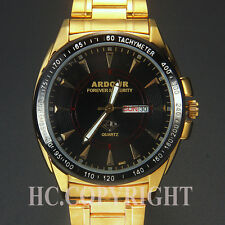 Luxury Mens Big Face Quartz Sport Watch Stainless Steel Date Day Black Dial New