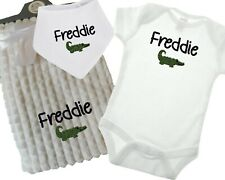 BABY PERSONALISED EMBROIDERED GIFT SET BIB VEST BLANKET CHILD NAME AND CROCODILE
