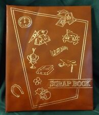 Vintage Scrap Book Faux Leather Cover Brown With Gold School Memory Designs