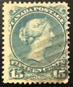 CANADA 1875 # 30b QUEEN VICTORIA LARGE QUEEN ISSUE 15cent BLUE GREY - USED FINE