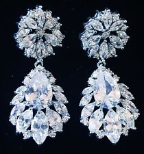 EARRING using Swarovski Crystal Dangle Drop Wedding Bridal Rhodium Silver CZ4