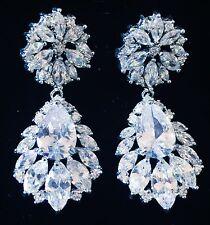 EARRING using Swarovski Crystal Dangle Drop Wedding Bridal Rhodium Silver CZ4
