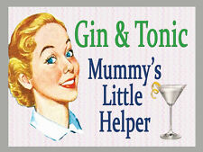 LARGE METAL WALL SIGN GIN AND TONIC MUMMY'S LITTLE HELPER FUNNY GIFT PRESENT MUM
