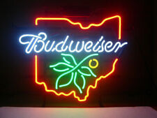 "Budweiser Ohio Neon Light Sign 17""x14"" Real Glass Poster Beer Lamp Decor Display"