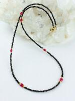 Schwarz Spinell Kette mit Rubin edelsteinkette fein-schliffen Collier Edel 45 cm
