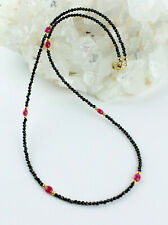 Black Spinel Chain With Ruby Gemstone Fein-Schliffen Necklace Noble 17 11/16in