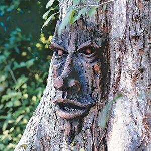 Tree Face Sculpture Garden Outdoor Yard Art Decor Whimsical Trunk Man Brown Gray