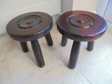 Pair of vintage hardwood stools, 3 legs, carved Yorkshire Rose, craftsman made