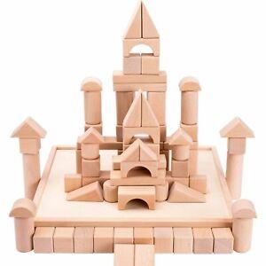 72 PCS Wooden Building Block Set Castle Blocks Kit
